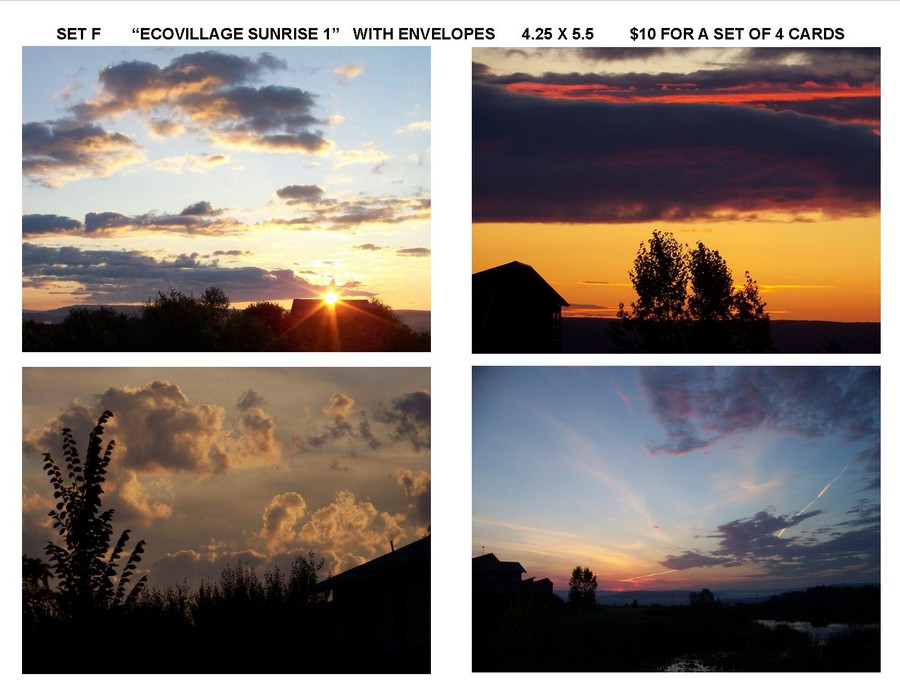 "Notecard Set F - ""Ecovillage Sunrise 1"""